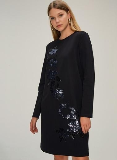NGSTYLE Payet Nakışlı Sweat Elbise Siyah